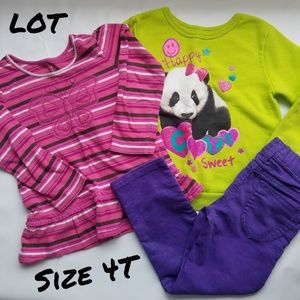Lot Girls long sleeve tops and pants Size 4T